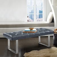 Armen Living Plaza Contemporary Bench in Grey Faux Leather and Brushed Stainless Steel Finish
