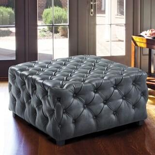 Armen Living Taurus Grey Faux Leather Wood-legged Contemporary Ottoman