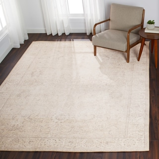 """Traditional Distressed Sand Beige Floral Printed Rug - 7'6"""" x 9'6"""""""