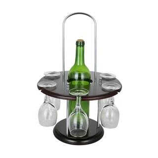 "Wine Bodies Wooden Round Wine Bottle And 6 Glass Holder Display 16"" x 11"""
