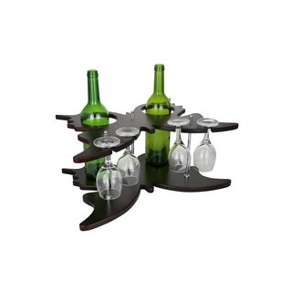 """Wine Bodies Butterfly Shaped Wooden 2 Wine Bottles And 4 Glass Holder Display 8"""" x 7"""" x 12"""""""