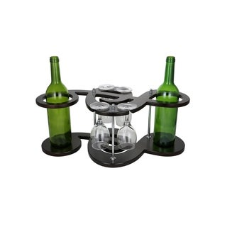 """Wine Bodies Musical Key Shaped Wooden 2 Wine Bottles And 4 Glass Holder Display 8"""" x 20"""" x 10"""""""