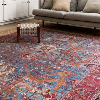 Traditional Distressed Blue/ Red Printed Rug (7'6 x 9'6)