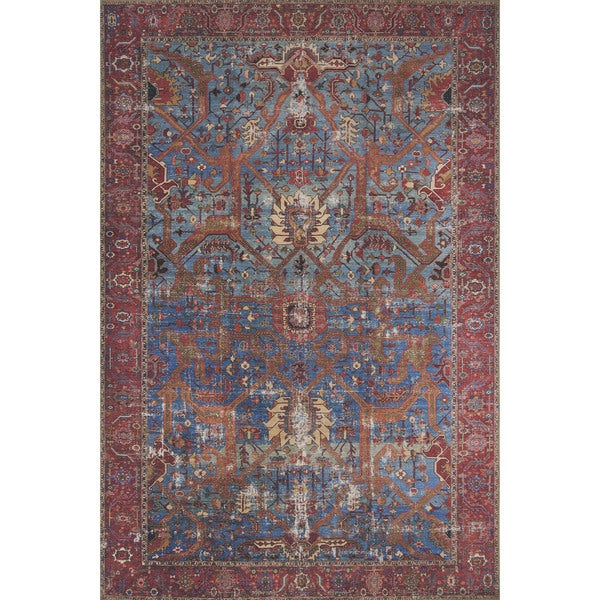 Traditional Area Rugs: Shop Traditional Distressed Blue/ Red Printed Area Rug