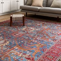 """Traditional Distressed Blue/ Red Printed Area Rug - 5' x 7'6"""""""