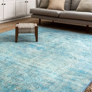 Traditional Distressed Aqua Blue Printed Rug (7'6 x 9'6)