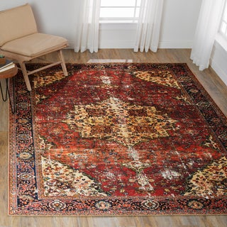 Traditional Distressed Red/ Navy Medallion Printed Rug (7'6 x 9'6)