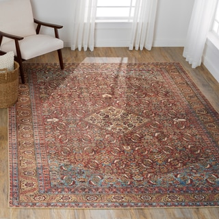 """Traditional Distressed Red/ Multi Printed Rug (7'6 x 9'6) - 7'6"""" x 9'6"""""""