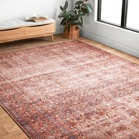 "Traditional Distressed Crimson/ Purple Printed Rug - 7'6"" x 9'6"""