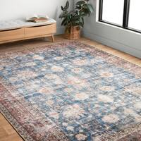 Traditional Distressed Blue/ Red Floral Printed Rug - 5' x 7'6