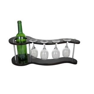 "Wine Bodies Curvy Wine Bottle Holder 4 Glasses And 1 Wine Bottle Display 8"" x 20"" x 7"""