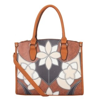 Diophy Flower Patchwork Pattern Large Structured Tote - L
