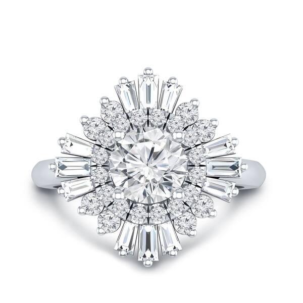 Shop Auriya 14k Gold 1 1 2ctw Ballerina Halo Diamond Engagement Ring Certified On Sale Overstock 20656892