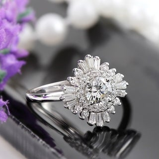 14k Gold Vintage 1 1/2ct TDW Certified Round and Baguette Ballerina Diamond Halo Engagement Ring by Auriya