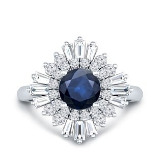 Auriya 14k Gold Vintage Ballerina 1ct Blue Sapphire and 3/4ct Round and Baguette Halo Diamond Engagement Ring