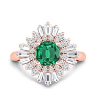 Auriya 14k Gold Vintage Ballerina 1ct Round Emerald and 1ct Diamond Halo Engagement Ring