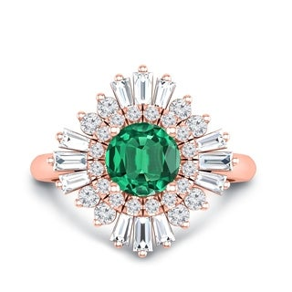 Auriya 14k Gold Vintage Ballerina 1ct Round Emerald and 3/4ct Baguette Halo Diamond Engagement Ring