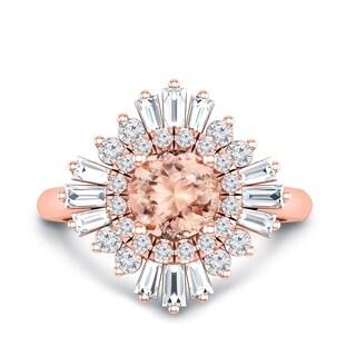 Auriya 14k Gold Vintage Ballerina 1ct Morganite and 3/4ct Baguette Halo Diamond Engagement Ring