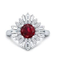 Round 1ct Red Ruby and 3/4ct Ballerina Baguette Diamond Halo Engagement Ring in 14k Gold by Auriya