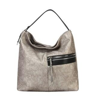 Diophy Front Half Zipper Pocket Fashion Hobo Bag - L