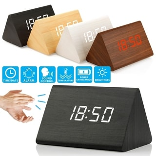 Wooden Wood Clock LED Alarm Digital Desk Clock Time Date Temperature