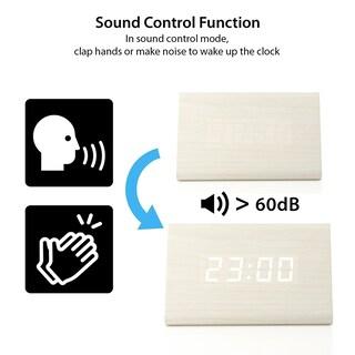 Wooden Wood Clock LED Alarm Digital Desk Clock Time Date Temperature