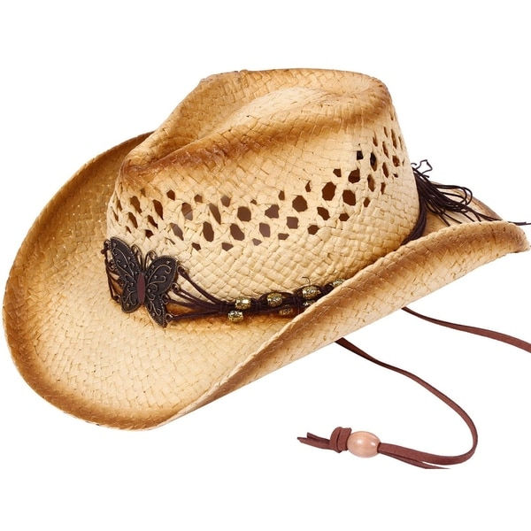 53bb48db Shop Kid's Straw Cowboy Hat w/ Hat Band,Brown_KST-005 - Free ...