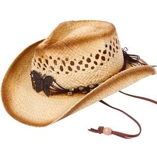 Kid's Straw Cowboy Hat w/ Hat Band,Brown-KST-005