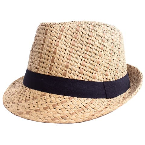 Women's Lovely Two Toned Structured Summer Straw Fedora Hat, L/XL