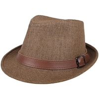 UV Sun Protective Straw Fedora Hat,Dk Brown Hat  Brown Leather Buckle Band,57cm