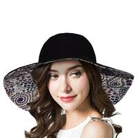 Women's Adjustable Print Flower Reversible Sun Hat with Velcro UPF 50+, Black