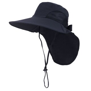 Womens Foldable Flap Cover UPF 51+ UV Protective Wide Brim Bucket Sun Hat Black