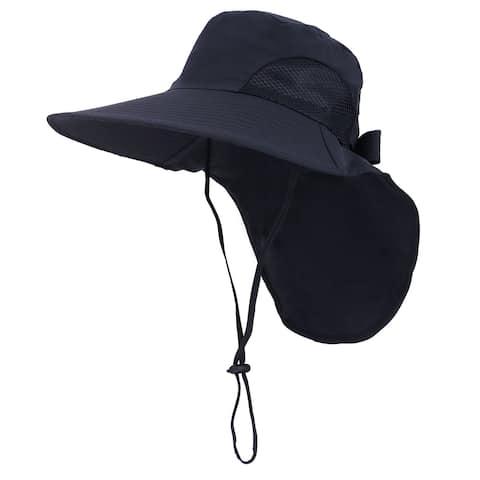 Womens Foldable Flap Cover UPF 51+ UV Protective Wide Brim Bucket Sun Hat Black