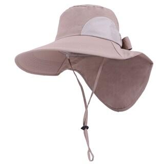 Womens Foldable Flap Cover UPF 51+ UV Protective Wide Brim Bucket Sun Hat Black (Option: Khaki)
