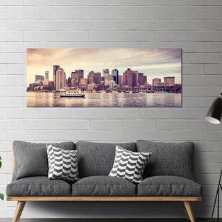 "Yosemite Home Décor ""City Harbor I"" Tempered Glass Wall Art"