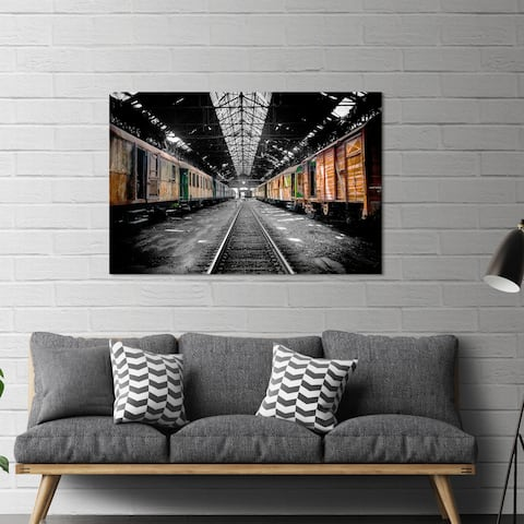 """Yosemite Home Décor """"Old Freight Car"""" Tempered Glass Wall Art"""