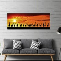 """Yosemite Home Décor """"African Sunset"""" Tempered Glass Wall Art"""