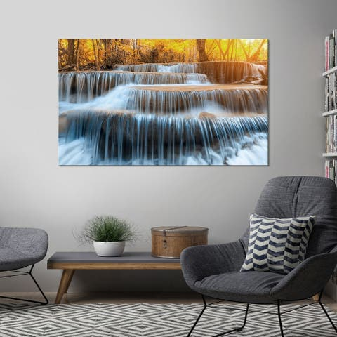 "Yosemite Home Décor ""Autumn Waterfall"" Tempered Glass Wall Art"