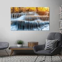 "Yosemite Home Décor ""Autumn Waterfall"" Tempered Glass Wall Art"