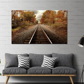 "Yosemite Home Décor ""Autumn Rails"" Tempered Glass Wall Art"