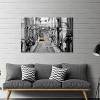 "Yosemite Home Décor ""Lisbon Yellow Tram I"" Tempered Glass Wall Art"
