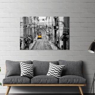 "Yosemite Home Décor ""Lisbon Yellow Tram I"" Tempered Glass Wall Art"