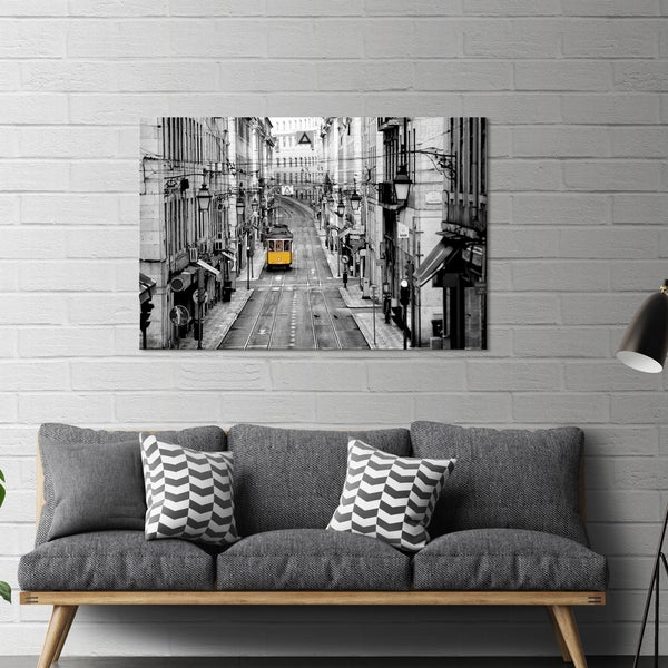 Shop Yosemite Home Decor Lisbon Yellow Tram I Tempered Glass Wall