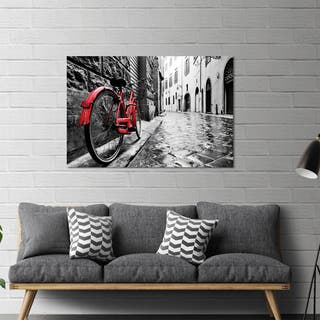 "Yosemite Home Décor ""The Red Bike"" Tempered Glass Wall Art"