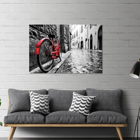 """Yosemite Home Décor """"The Red Bike"""" Tempered Glass Wall Art"""
