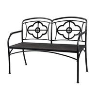 The Holland Grace Industrial Glam Clover Metal and Wood Outdoor Bench