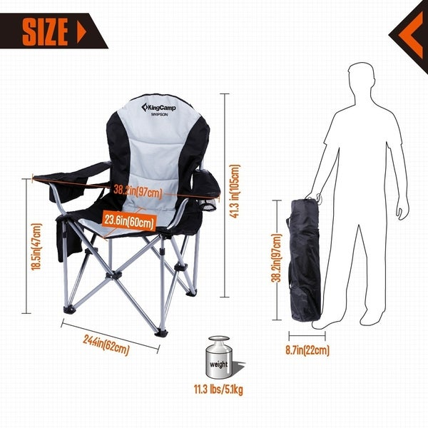 KingCamp Heavy-Duty 160kg Portable Camping Folding Chair Outdoor Camping