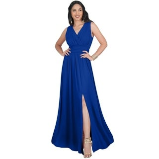 KOH KOH Womens Long Elegant Bridesmaid Sexy V Neck Gowns Maxi Dress