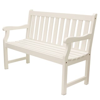 Henley 2 Seat Outdoor Bench (Option: White)