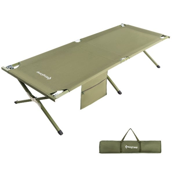 Camping Cot Military Style OVERSIZED Heavy Duty Folding Bed Anodized Steel  Frame
